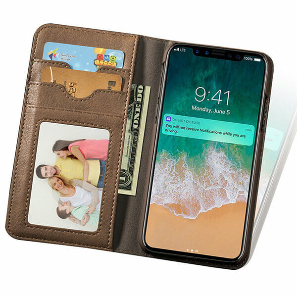 check out c856f 06818 Leather Wallet Phone Case Slim Flip Cover Kickstand